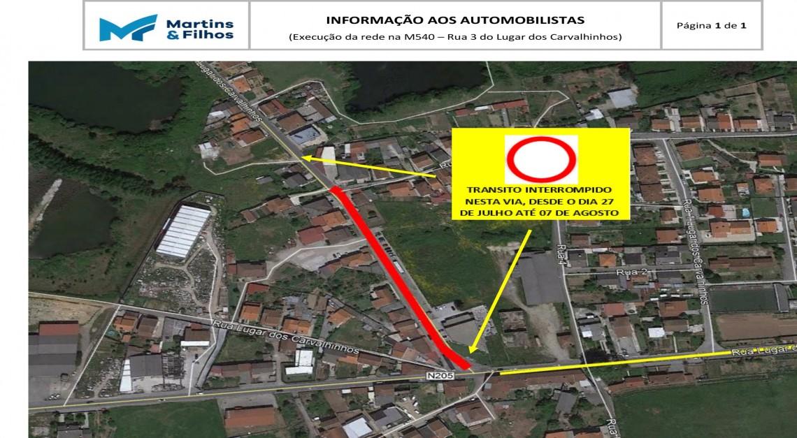 Rua nos Carvalhinhos encerrada temporariamente para obras de saneamento