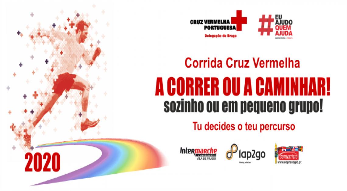 Cruz Vermelha. Corrida solidária, sozinho ou em pequenos grupos, para ajudar no combate à COVID-19